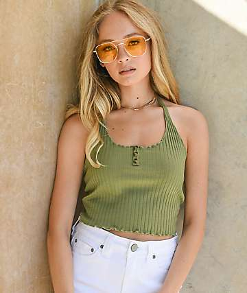 Lunachix 3 Button Super Olive Halter Crop Top