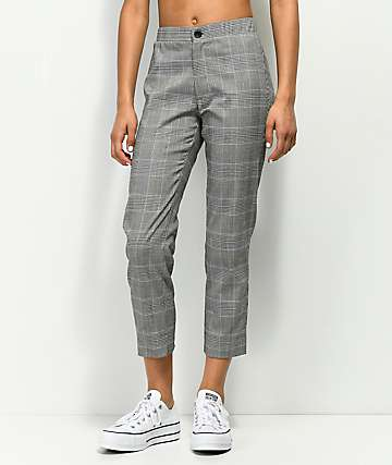 Lunachix Alia Black, White & Yellow Plaid Ankle Pants