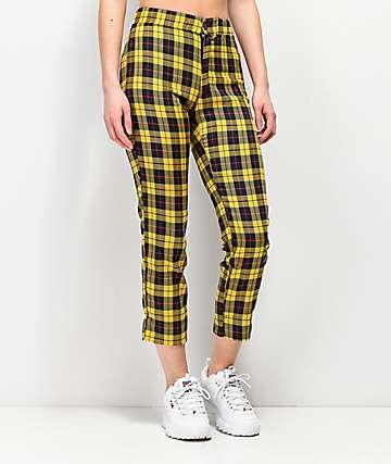 Lunachix Alia Yellow Plaid Ankle Pants