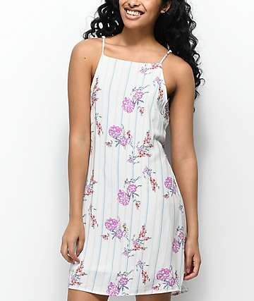 Lunachix Amelia Tie Back Floral White Stripe Dress