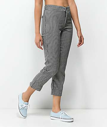 Lunachix Black & White Gingham Ankle Pants