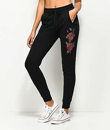 Lunachix Black Rose Side Jogger Sweatpants