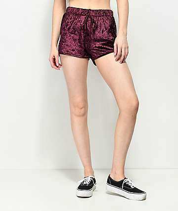 Lunachix Burgundy Crushed Velvet Shorts