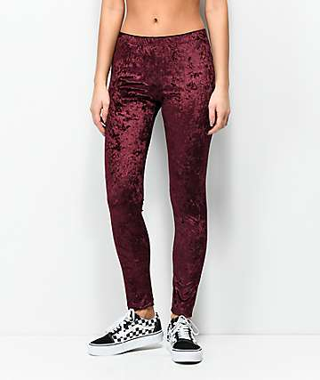 Lunachix Burgundy Velvet Leggings