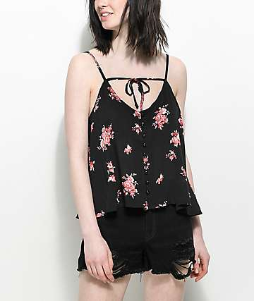 Lunachix Cecily Button Up Black Floral Tank Top