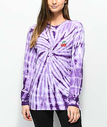 Lunachix Cherry Purple Tie Dye Long Sleeve T-Shirt
