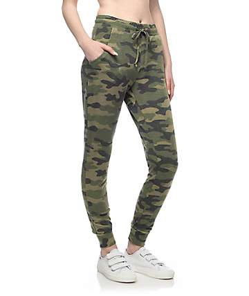Lunachix Erika Washed Camo Jogger Sweatpants