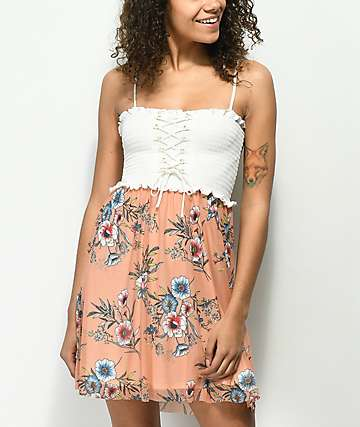 Lunachix Floral Lace Up Smocked Strapless Dress