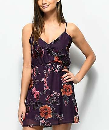 Lunachix Floral Velvet Burnout Purple Wrap Dress