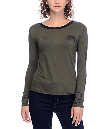 Lunachix Good Vibes Long Sleeve Olive T-Shirt