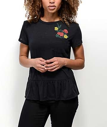Lunachix Harlie top floral con sobrefalda en negro