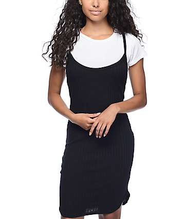 Lunachix Jessa Ribbed 2Fer Black T-Shirt Dress