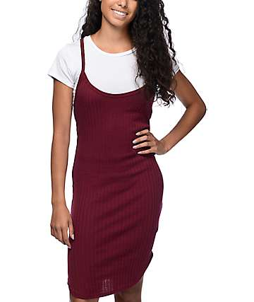 Lunachix Jessa Ribbed 2Fer Burgundy T-Shirt Dress