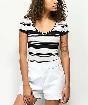 Lunachix Jordan camiseta acanalada negra y blanca de rayas