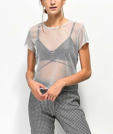 Lunachix Karen camiseta de malla plateada