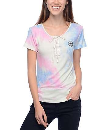 Lunachix Karina Alien camiseta con efecto tie dye y cordón en rosa