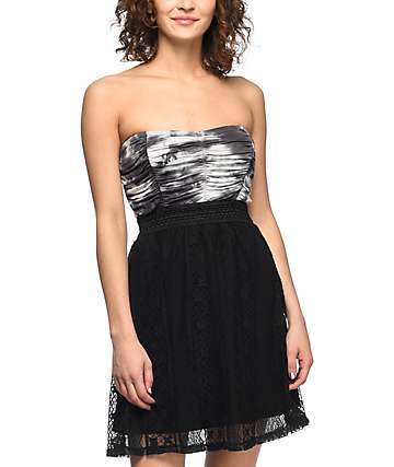 Lunachix Kendra Black Tie Dye Strapless Dress