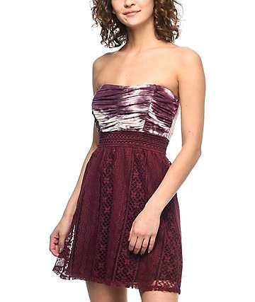 Lunachix Kendra vestido sin tirantes color vino