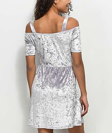 Lunachix Lavender Crushed Velvet Cold Shoulder Dress