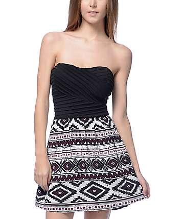 Lunachix Lila Black Bodice & Black Multi Tube Dress