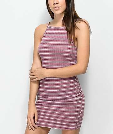 Lunachix Lily Mauve Stripe Lace Up Back Dress