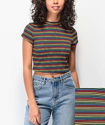 Lunachix Masie Rainbow Crop Mock Neck Top