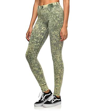 Lunachix Olive Crystal Wash Leggings