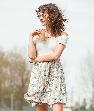 Lunachix Pink Palm Off The Shoulder Dress