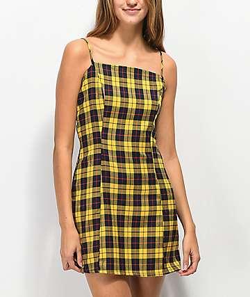 Lunachix Plaid Yellow & Blue Mini Dress