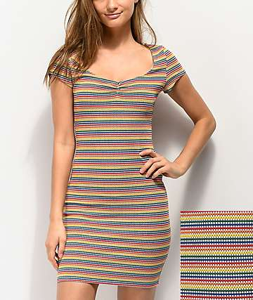 Lunachix Rainbow Dot Bodycon Dress