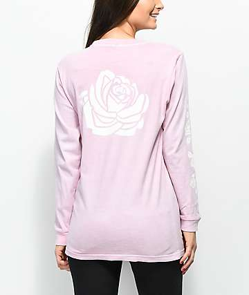 Lunachix Rose Sleeve Hit Pink Long Sleeve T-Shirt