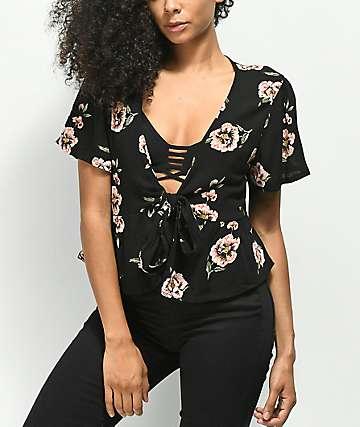 Lunachix Sadie Knottie Flutter Black Floral Top
