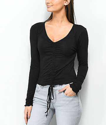 Lunachix Sandy Ruched Black Long Sleeve Crop Top
