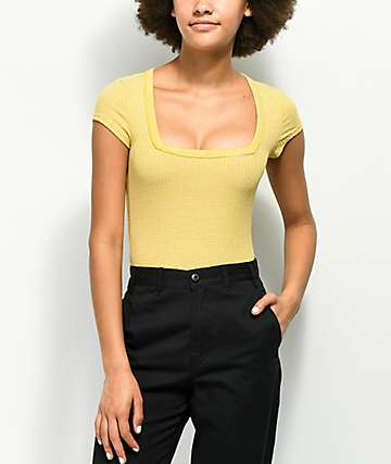 Lunachix Square Neck Yellow Stripe T-Shirt
