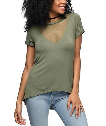 Lunachix Tomi camiseta de malla con cuello en V en verde
