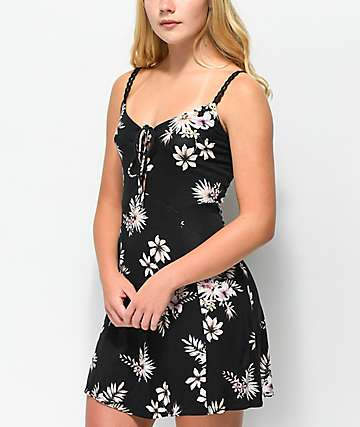 Lunachix Zoe Floral Lace-Up Black Dress