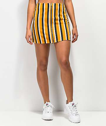Lunachix minifalda de rayas azules y doradas