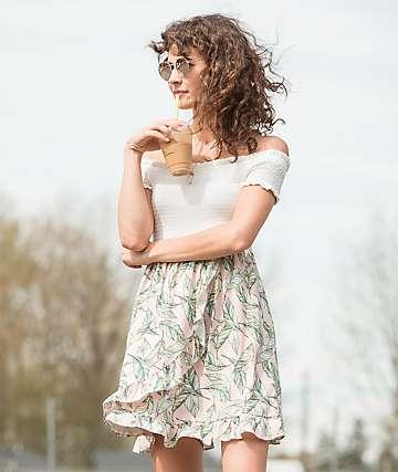 Lunachix vestido rosa de palmera con escote Bardot
