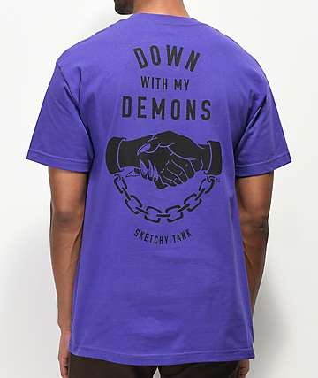 Lurking Class By Sketchy Tank Demons Purple T-Shirt