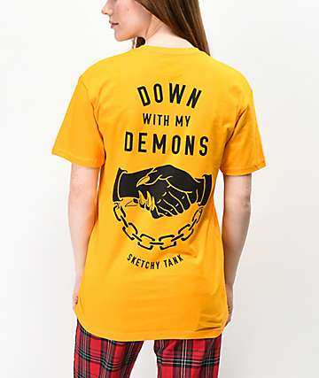 Lurking Class By Sketchy Tank Down With My Demons Gold T-Shirt