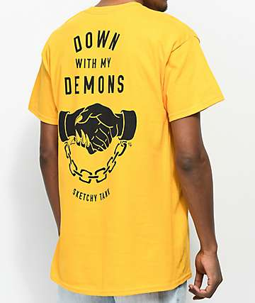 Lurking Class By Sketchy Tank Down With My Demons Yellow T-Shirt