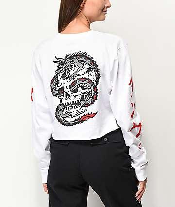 Lurking Class By Sketchy Tank Dragon White Long Sleeve Crop T-Shirt