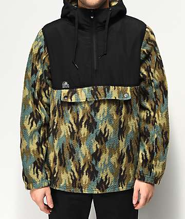Lurking Class By Sketchy Tank Fuegoflage Black & Camo Anorak Fleece Jacket