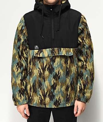 Lurking Class By Sketchy Tank Fuegoflage Black & Camo Anorak Fleece Jacket