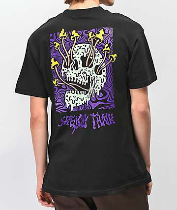 Lurking Class By Sketchy Tank Fungus Color Black T-Shirt