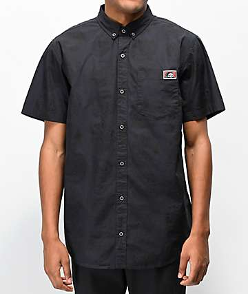 Lurking Class By Sketchy Tank Heads Black Short Sleeve Button Up Shirt