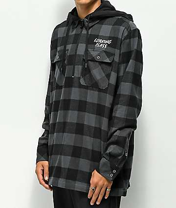 Lurking Class By Sketchy Tank Lurking Class Zippered Black Hooded Flannel Shirt