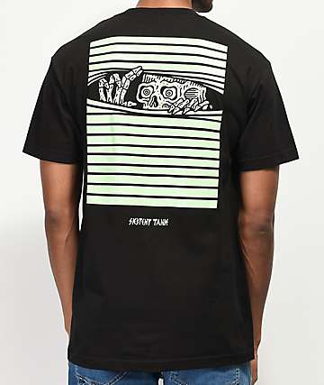 Lurking Class By Sketchy Tank Peeking Black & Green T-Shirt