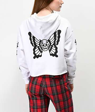 Lurking Class By Sketchy Tank Skullfly White Crop Hoodie