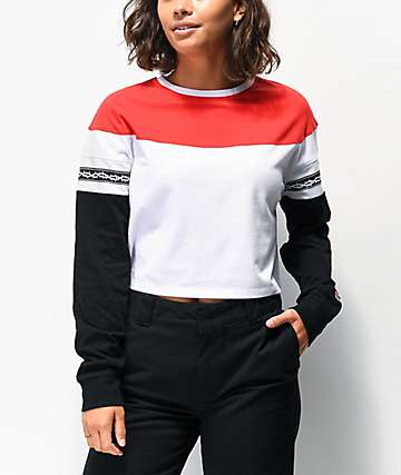 Lurking Class By Sketchy Tank Thorns White, Red & Black Crop Long Sleeve T-Shirt